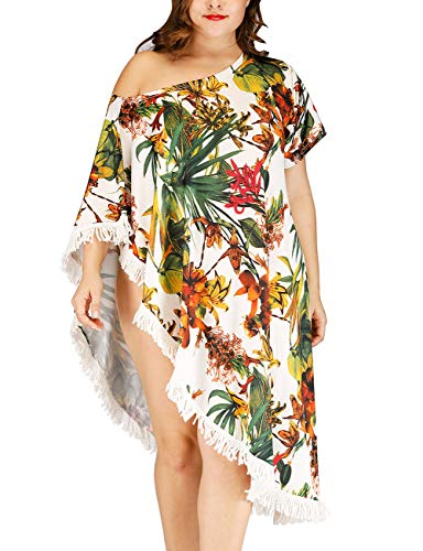 (Bsubseach Plus Size Print Beach Dress Loose Irregular Short Sleeve Swimsuit Cover Up Swimwear for Women)