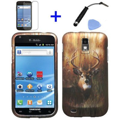 (4 items Combo: Stylus Pen, Screen Protector Film, Case Opener, Graphic Case) Outdoor Wildlife Deer Grass Camouflage Design Rubberized Snap on Hard Shell Cover Faceplate Skin Phone Case for (T-Mobile) Samsung Galaxy S2 / SII/ II/ 2 / T989