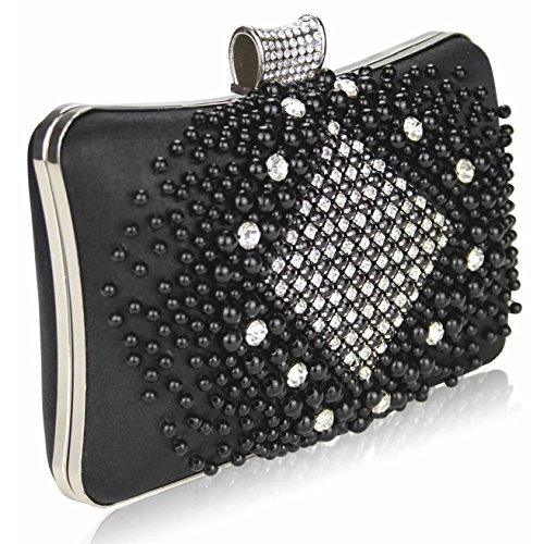 TrendStar Mujeres Perla perlado falso diamante embrague bolsa Bal de Promo de los partes boda de bolso Noir 1