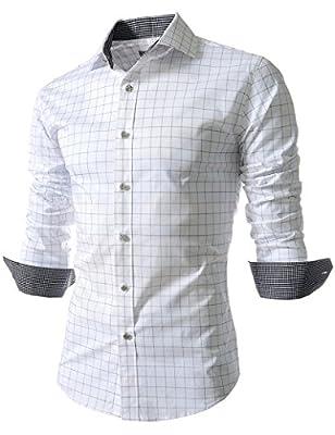 Kool Classic Men's Casual Long Sleeve Plaid Slim Fit Dress Shirts