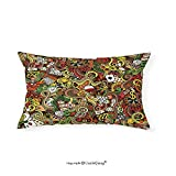 VROSELV Custom pillowcasesCasino Decorations Doodles Style Art Bingo Excitement Checkers King Tambourine Vegas Bedroom Living Room Dorm Decor (12''x24'')