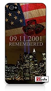 Remembering 911 September 11 2001 attack on New York City Memorial iPhone 4 Quality Hard Snap On Case for iPhone 4 4S 4G - AT&T Sprint Verizon - Black Frame