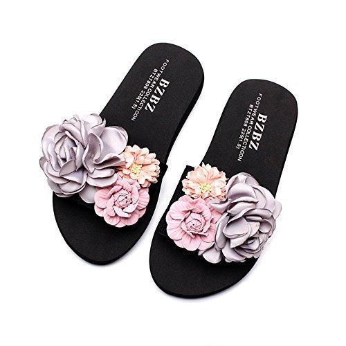La Couleur taille De Plage À ZHANGRONG Sandales Chaussures Femme A Fond Coréenne Waichuan Pantoufles Main Plat Épais Pantoufles B Chaussons Fleurs Version Été 36 Mode qWcfBqzRy