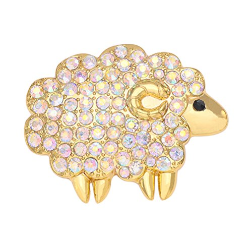FENICAL Crystal Sheep Shaped Lapel Pin Animal Brooch Pins Dazzling Jewelry Pins for Women Girls (Golden)
