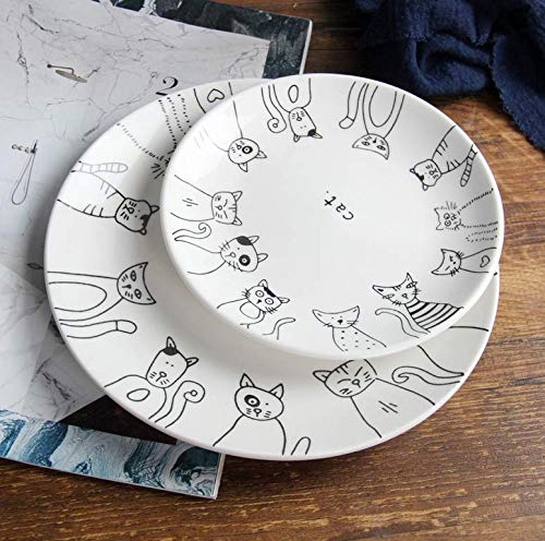 "Astra Gourmet Set of 2 Cute Cartoon Cat Ceramic Dinner Plates Special Plate Salad Dessert Bread Cat Plate Serving Dish(6"" & 7.8"")"