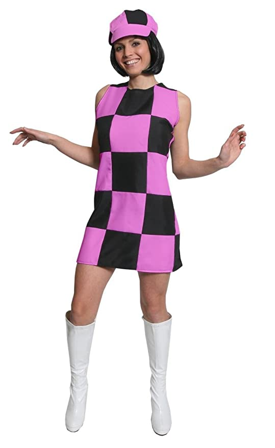 1960s Style Dresses, Clothing, Shoes UK LADIES SIXTIES GOGO SHIFT DRESS FANCY DRESS COSTUME 1960S PARTY GIRL MOD CHECKERED DRESS BLACK & PINK (UK 10-12)  AT vintagedancer.com