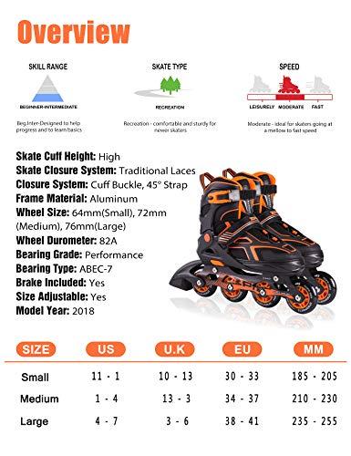 2PM SPORTS Torinx Orange Black Boys Adjustable Inline Skates, Fun Skates for Kids, Beginner Roller Skates for Girls, Men and Ladies - Medium (US 2-5) by 2PM SPORTS (Image #4)