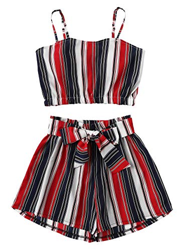 SweatyRocks Women's 2 Piece Outfits Boho Striped Sleeveless Crop Cami Top with Shorts Multicolor S