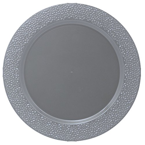 Silver Charger Plate (Posh Setting Silver Charger Plates, Hammered Design, Medium Weight 13 inch, Round Plastic Chargers 10 pack)