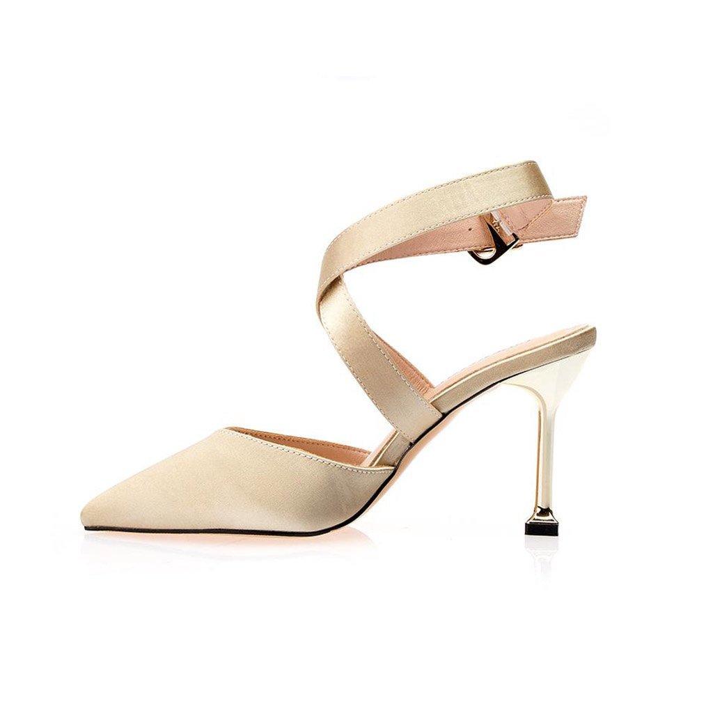 JIANXIN Die Damen-Sandalen Sind Mit Einem Sexy Spitzen Riemen Und Glatten Satin-Absätzen Geschnürt. (Farbe   Gold größe   EU 38 US 7 UK 5 JP 24.5cm)