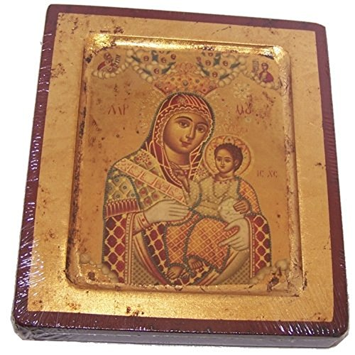 HolyLandMarket – Icons Blessed Mother of Bethlehem Icon with Sheets of Gold Lithography – Style I 9.25 x 7.25 inches