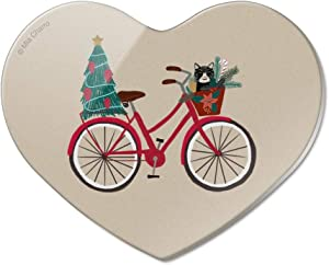 Christmas Bicycle Bike and Cat in Basket Heart Acrylic Fridge Refrigerator Magnet