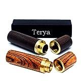 Classic Wood Toothpick holder Terya Toothpick Holder Dispenser (Dark brown & Stripe)