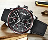 Watches Mens Sports Chronograph Waterproof Analog Quartz Watch with Black Leather Band Fashion Classic Casual Big Face Dress Wrist Watch for Men