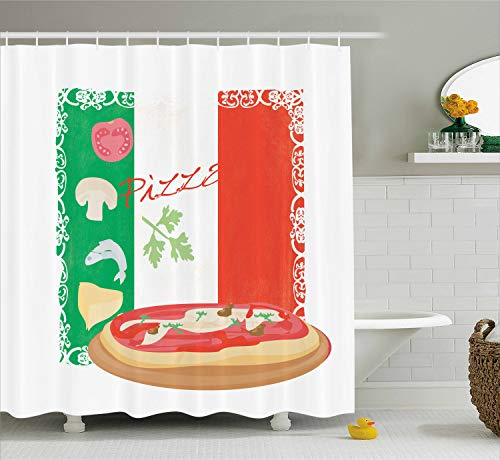 Ambesonne Pizza Shower Curtain, Delicious Food on Italian Flag Background Italian Cuisine Pizzeria Kitchen Concept, Cloth Fabric Bathroom Decor Set with Hooks, 70 Inches, Green Red -