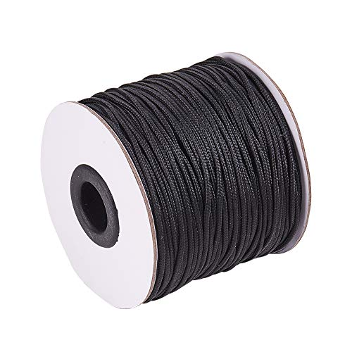 (PH PandaHall 1.5mm/ 100 Yards Black Nylon Braided Lift Shade Cord for Blind Shade Mini Blind Cord Replacement String for Windows, Roman Shade)