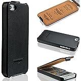iPhone SE / 5s / 5 Hülle - ECHT LEDER - HANDGEFERTIGT - Zubehör Case Etui IPhone Flip Case Schutzhülle von TWOWAYS - Farbe Schwarz