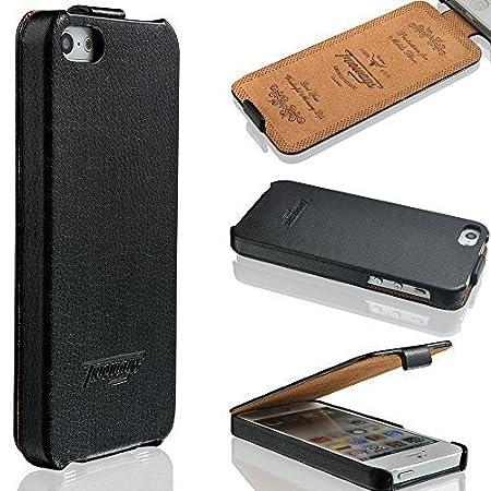 iPhone SE / 5s / 5 Hülle - ECHT LEDER - HANDGEFERTIGT - Zubehör Case Etui IPhone Flip Case Schutzhülle von TWOWAYS - Farbe Sc