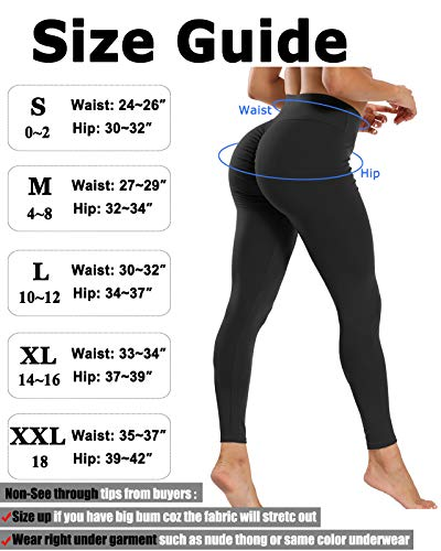 JUNMOUYI Women Sexy Butt Lifting Leggings Scrunch Anti Cellulite Yoga Pants High Waist Workout Tummy Control Tights
