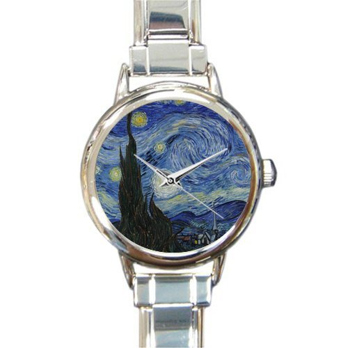 Personalized Watch Vincent Van Gogh Starry Night Round Italian Charm stainless steel -