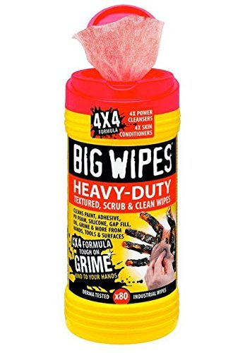 Big Wipes Heavy Duty Industrial Textured Scrubbing Wipes, 8 Tubs X 80 Count