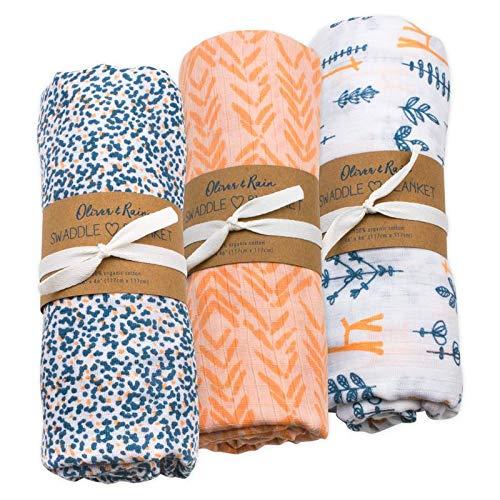Oliver & Rain Baby Swaddle Sampler - 3-Pack Newborn 100% Organic Cotton Muslin Swaddle Blankets in Giraffe, Coral Chevron & Giraffe Dot Print