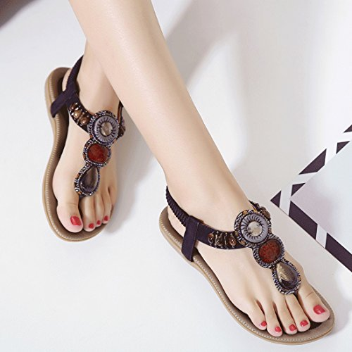 Flip Rhinestone Sandals Womens YIBLBOX Slip Flops on Summer 05 Low Wedges Beach Strap Black Casual Shoes T Flats Yt4x64