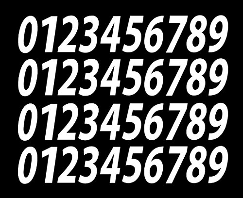 (0-9 Numbers White Vinyl Sticker Decals Set of 40 Choose Size!! 1