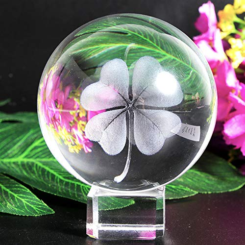 Waltz&F 60mm Crystal Ball Four Leaf Clover Paperweight with Stand,Fengshui Crystal Ball Home Decoration]()