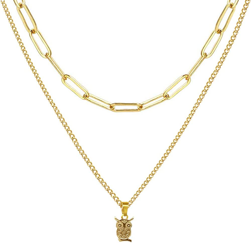 AUMIAU Choker Necklaces for Women, Dainty 14K Gold Plated Layered Coin Evil Eye Owl Choker Necklace, Simple Cute Snake Chain Link Choker Necklace Womens Small Short Necklaces Jewelry for Teen Girls