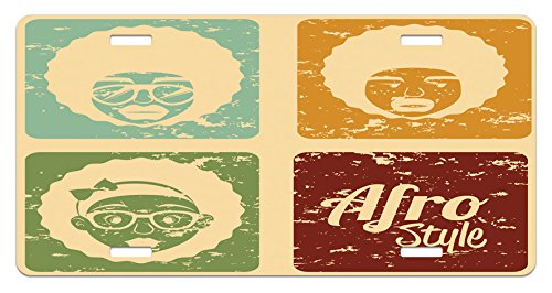 Dance Arrangements - Lunarable Afro License Plate, Pop Art Style Disco Themed Arrangement Retro Dance Fever African American Culture, High Gloss Aluminum Novelty Plate, 5.88 L X 11.88 W Inches, Multicolor