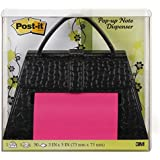 Post-it Pop-up Notes Dispenser for 3 x 3-Inch Notes, Black Purse, Includes Green and Pink Post its