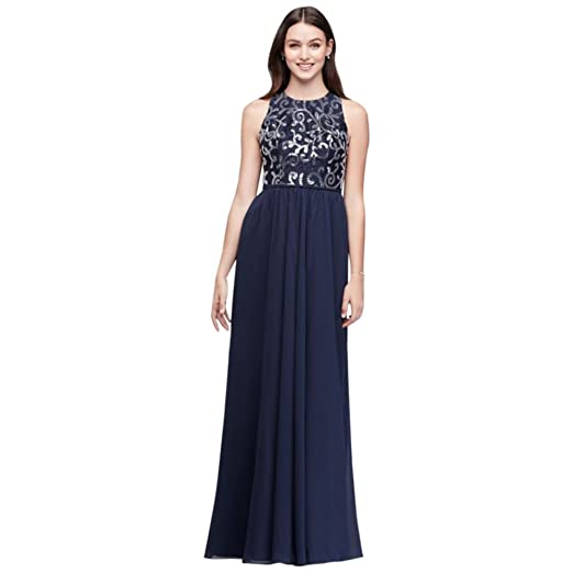 Davids Bridal High Neck Sequined Lace And Chiffon Bridesmaid Dress