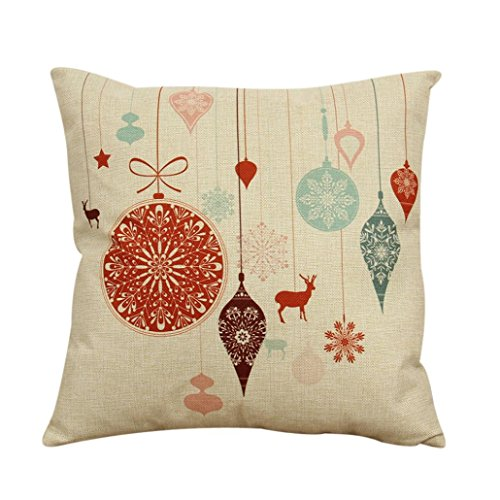Clearance!1PC Vintage Christmas Cotton Linen Sofa Bed Home Decor Pillow Case Cushion Cover (A)