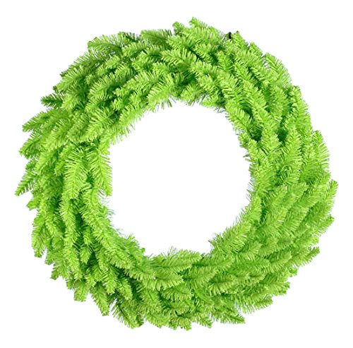 (Vickerman Pre-Lit Lime Ashley Spruce Christmas Wreath with Clear and Green Lights, 36