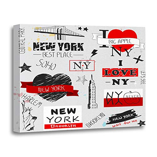 Emvency Painting Canvas Print Artwork Decorative Print New York Slogan Gray for Site Label Placard and Creative Kids Painting Wooden Frame 20x30 inches Wall Art for Home Decor