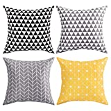 BLEUM CADE Decorative Throw Pillow Cover Case Cushion Modern Decorative for Sofa Couch Bed Car Set Stripes Geometric Home Decor 4 Packs 18 x 18 inch