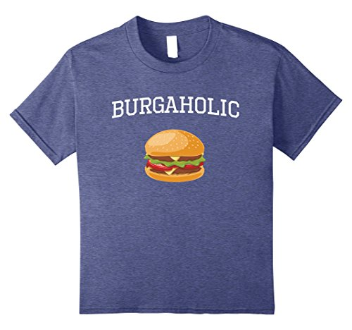 unisex-child Burgerholic Junk Food Addict T-Shirt 12 Heather - Food Junk Addict
