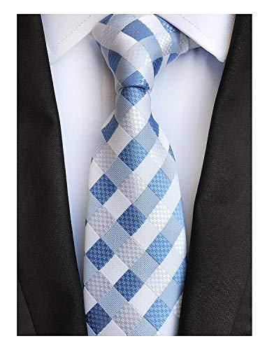 (ShuangDeng Men Modern Tartan Formal Ties Checks Plaid Gingham Pattern Woven Necktie (Color : White Blue, Size : One Size))