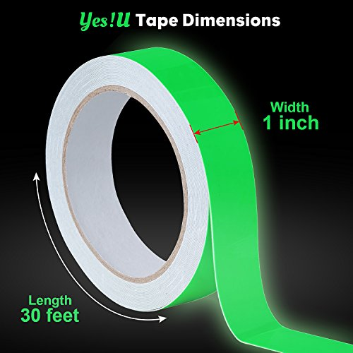Glow in the Dark Tape - 1 inch x 30 feet - Green Luminous Duct Tape High Luminance for 10 hours, Photoluminescent, Removable, Waterproof comes with 10 glow in the dark dots (Car Duct Tape)