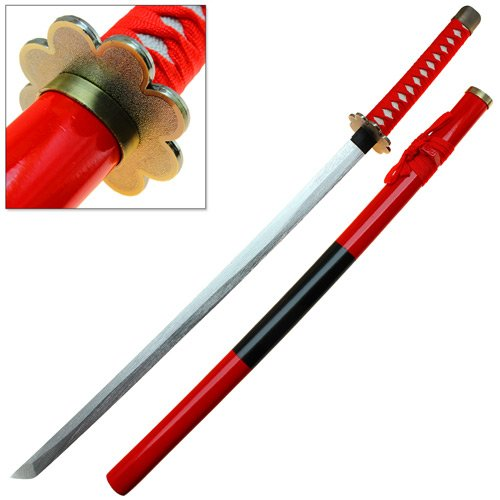 Larp Costume Bad (Wooden Japanese One Piece Anime Sword Cursed Red KatanaLead-Free Paint Cosplay Convention Ready)