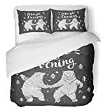 Emvency 3 Piece Duvet Cover Set Breathable Brushed Microfiber Fabric Dance Dancing Bears in The Forest Sketch with Stylish Lettering Hipster Drawn Bedding Set with 2 Pillow Covers Twin Size