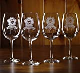 Engraved Wine Glasses, Custom Gift SET OF 2 (m30)