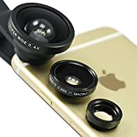 First2savvv JTSJ-CJ3-01 black Universal Detachable 0.4X Super Wide Angle + 0.29X fish eye + Macro lens professional Mobile phone Lens for Apple iphone 6 plus iphone 6 &Nokia Lumia 530 Samsung Galaxy s5 mini&Motorola S, Shamu & Huawei Ascend G630, Mate 7 with LENS Cleaning Cloth