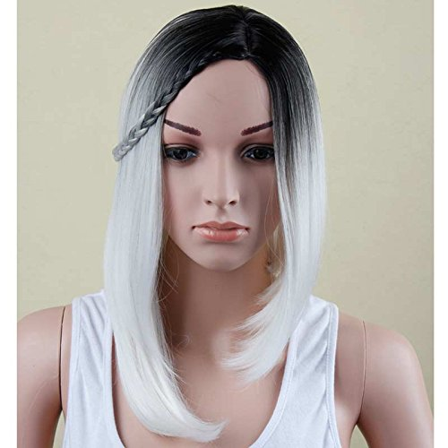 Colorwigy Wigs 12inch Long Bob Haircuts For Women African American Bob Wigs For Black Women Long Ombre Grey Wig White Wig Cosplay Cheap Wigs For (Bob And Linda Halloween)