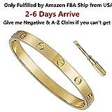 Byqone Love Bracelet, Screw Bracelet, 18k Titanium Steel Bracelet, Buckle Bangle Bracelet with Screwdriver 6.7Inch Gold …