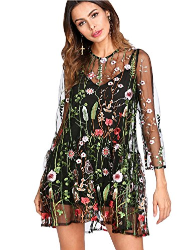 Verdusa Women's Floral Embroidery Mesh Overlay 2 in 1 Dress Multicolor M