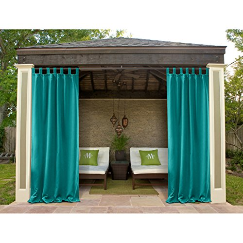 Macochico 120Wx 96L Outdoor Extra Wide Waterproof Velcro Tab Top Curtains Panels Privacy Protection Thermal Insulated Dustproof Noise Buffer for Patio Garden Gazebo Turquoise (1 Panel)