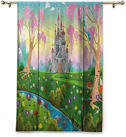 Kmydt Tie Up Valance Curtains, Cartoon Decor, Home Decorative Adjustable Tie Up – Fairy Tale Castle Scenery in Garden Princess Kids Girls Fantasy Picture – 48 x72 – Multi