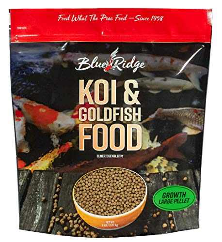 (Blue Ridge Fish Food Pellets 5LB | Koi and Goldfish Growth Formula | Floating Large Pellet, Balanced)